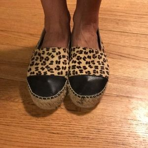 Aldo leopard calf hair & black leather espadrille